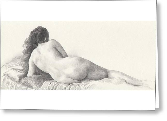 Voluptuous Reclining Nude Luxuriating On Victorian Settee After Eakins Greeting Card by Scott Kirkman