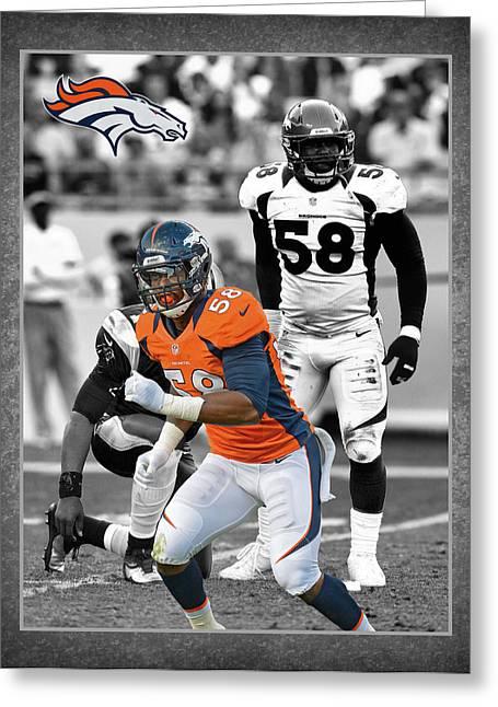 Von Miller Broncos Greeting Card by Joe Hamilton