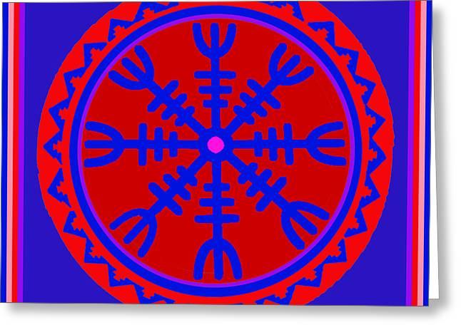 Greeting Card featuring the digital art Voodoo Helm Of Awe by Vagabond Folk Art - Virginia Vivier