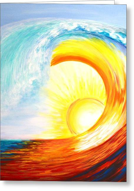 Greeting Card featuring the painting Vortex Wave by Agata Lindquist