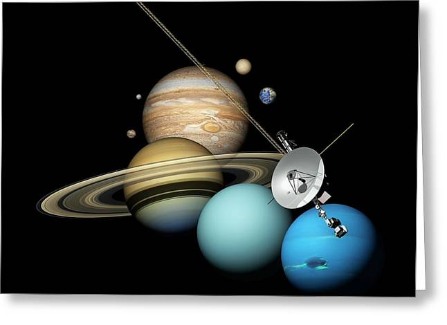 Voyager 2 And Planets Greeting Card