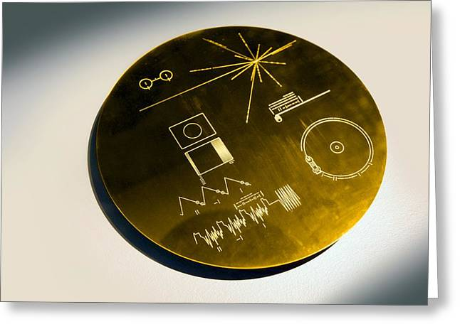 Voyager Spacecraft Plaque, Artwork Greeting Card by Science Photo Library