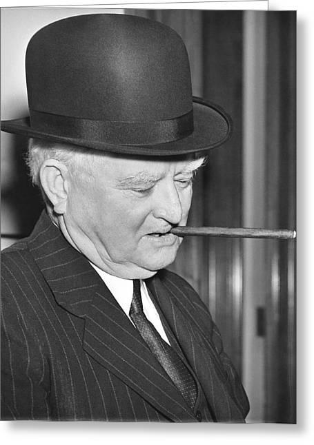 Vp Garner Tries A Derby Hat Greeting Card by Underwood Archives