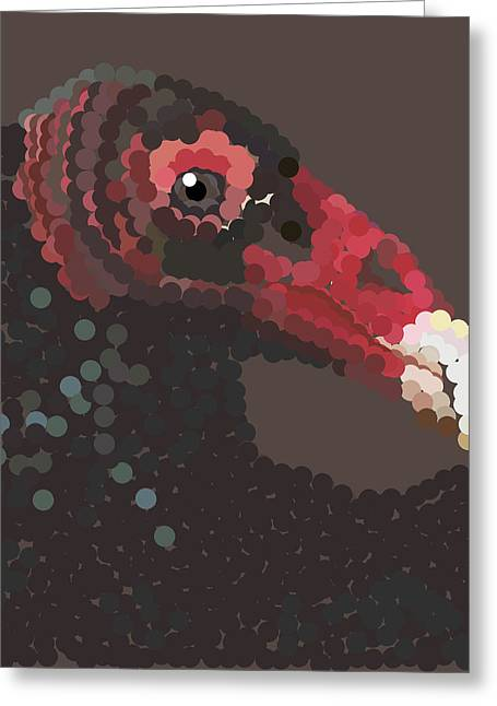 Vulture Pixel Pointillized Greeting Card