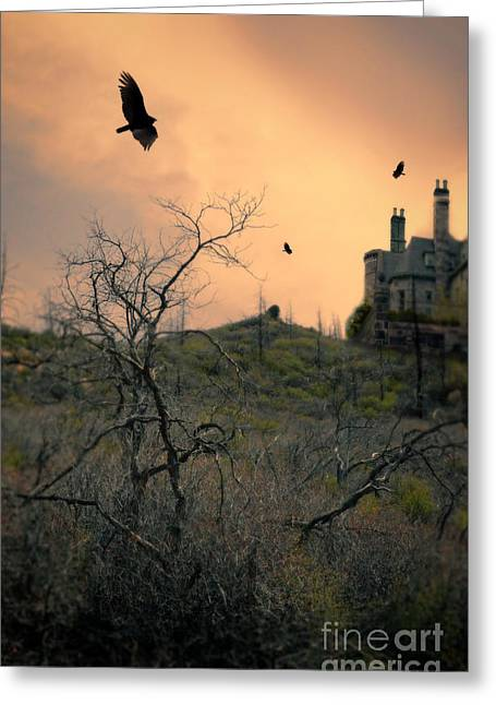 Vultures Circling By Castle Greeting Card