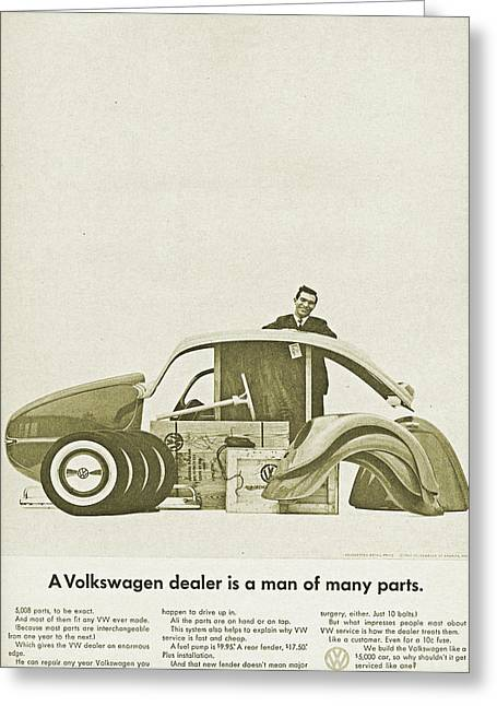 Vw Beetle Advert 1962 - A Volkswagen Dealer Is A Man Of Many Parts Greeting Card