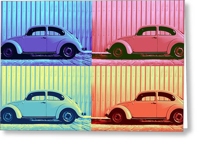 Vw Beetle Pop Art Quad Greeting Card
