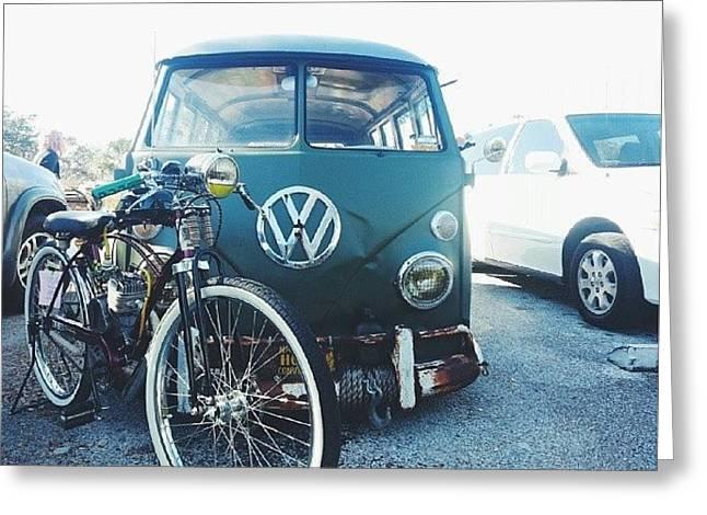 #vw #bus #bikes Greeting Card