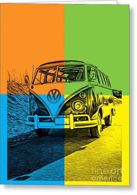 Vw Bus Pop Art 4 Greeting Card by Edward Fielding