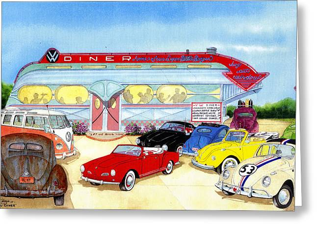 Vw Diner Greeting Card by Larry Johnson