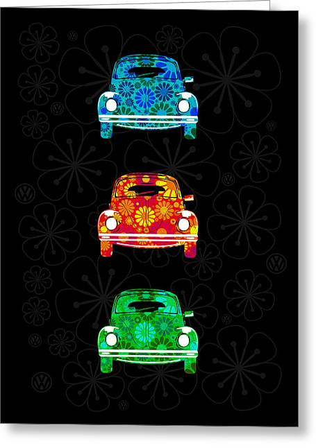 Vw Flower Power Greeting Card by Mark Rogan