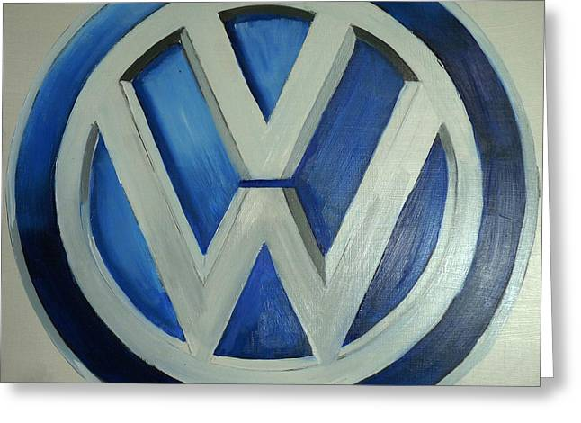 Vw Logo Blue Greeting Card
