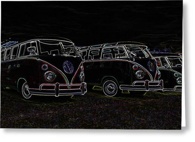 Vw Microbus Glow Greeting Card by Steve McKinzie