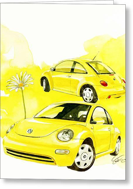 Vw New Beetle Greeting Card
