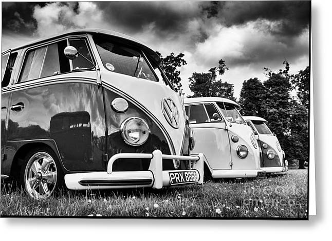 Vw Splitties Monochrome Greeting Card by Tim Gainey
