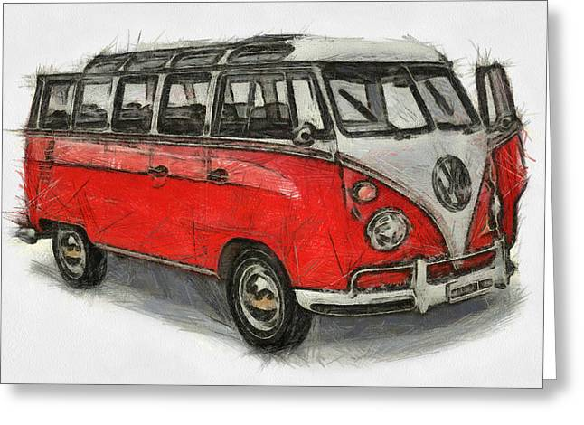 Greeting Card featuring the painting Vw Van - Red Art Print by Georgi Dimitrov