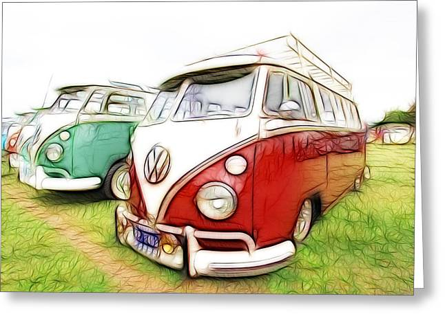 Vw Vans Greeting Card by Steve McKinzie