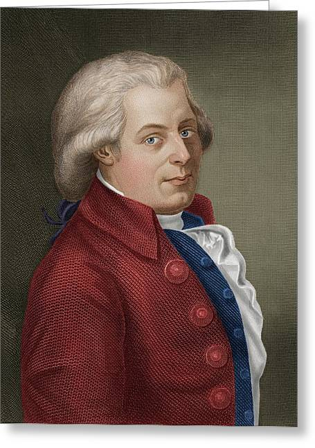 W A Mozart Greeting Card by Maria Platt-evans