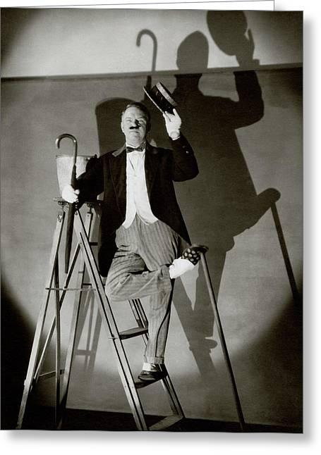 W. C. Fields Standing On A Ladder Greeting Card by Edward Steichen