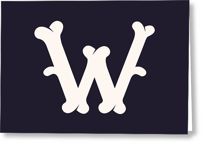 W Letter Logo Made Out Of Bones. Vector Greeting Card