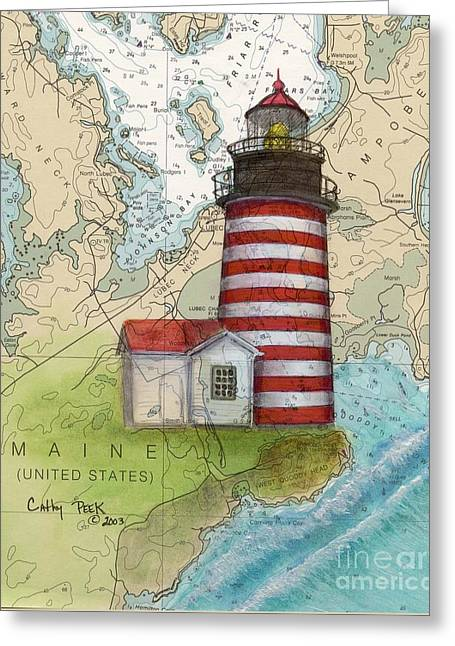 W Quoddy Lighthouse Me Nautical Chart Map Art Cathy Peek Greeting Card by Cathy Peek