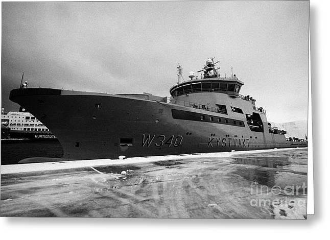 w340 kv barents sea norwegian coast guard kystvakt vessel Honningsvag finnmark norway Greeting Card by Joe Fox