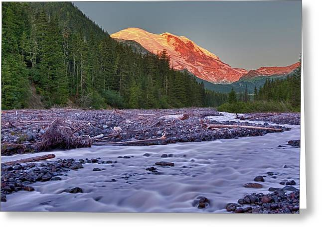 Wa, Mount Rainier National Park, White Greeting Card by Jamie and Judy Wild