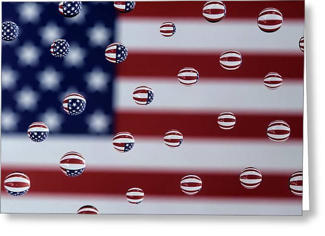 Wa, Redmond, American Flag, Reflected Greeting Card
