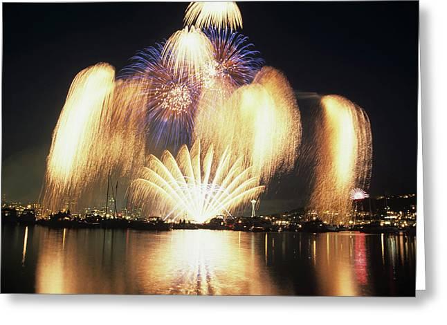 Wa, Seattle, Fireworks On July 4th Greeting Card