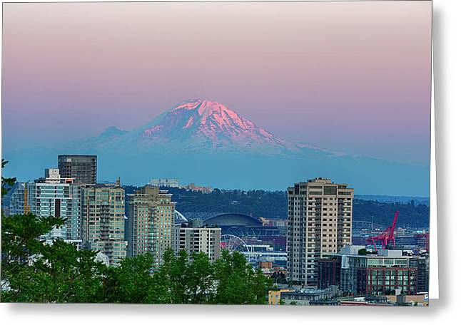 Wa, Seattle, Skyline View With Mount Greeting Card