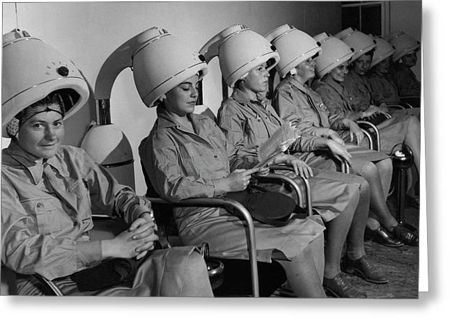 Waac Officers At A Beauty Parlor Greeting Card by Toni Frissell
