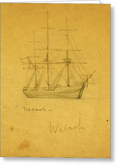 Wabash, Between 1860 And 1865, Drawing On Cream Paper Pencil Greeting Card
