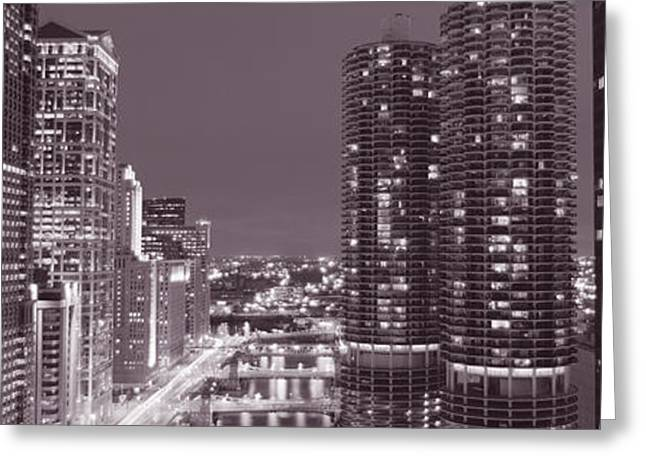Wacker Drive, River, Chicago, Illinois Greeting Card by Panoramic Images
