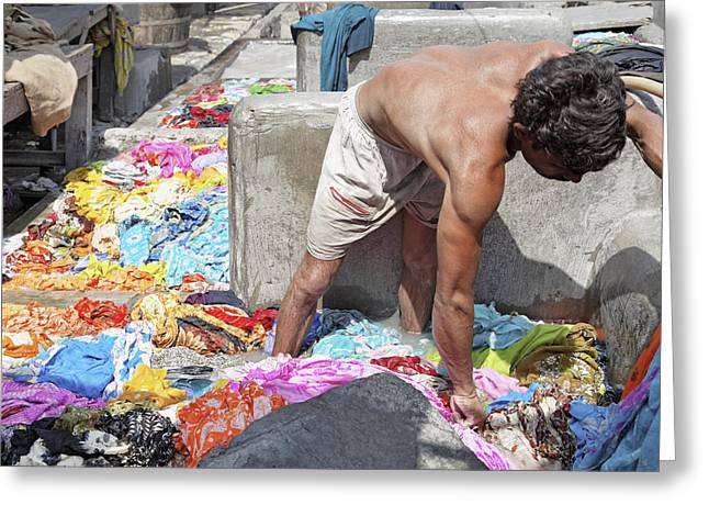 Wadeing Through The Dirty Laundry Greeting Card by Kantilal Patel