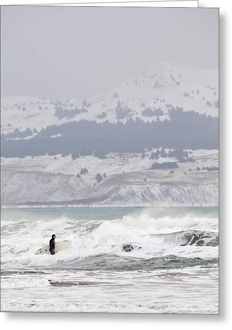 Wading Into Winter Surf Greeting Card by Tim Grams