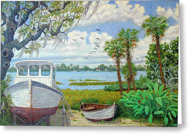 Wadmalaw Boats Greeting Card by Dwain Ray