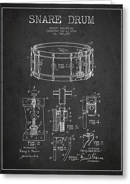 Waechtler Snare Drum Patent Drawing From 1910 - Dark Greeting Card by Aged Pixel