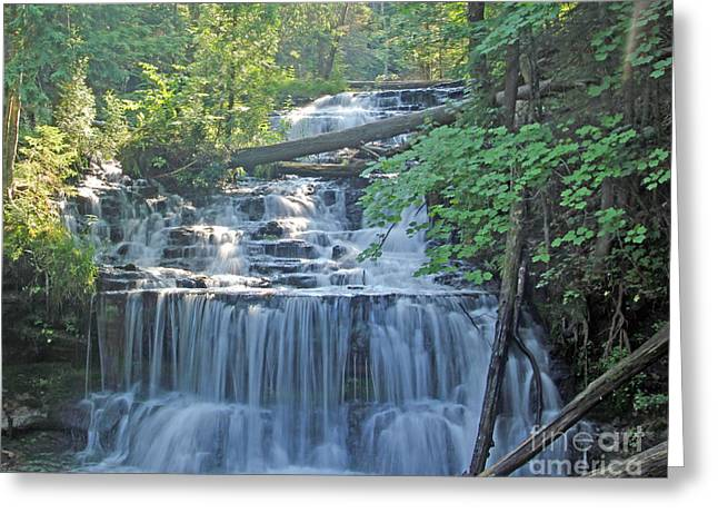 Wagner Falls  Soft Water Effect Greeting Card by Bill Woodstock