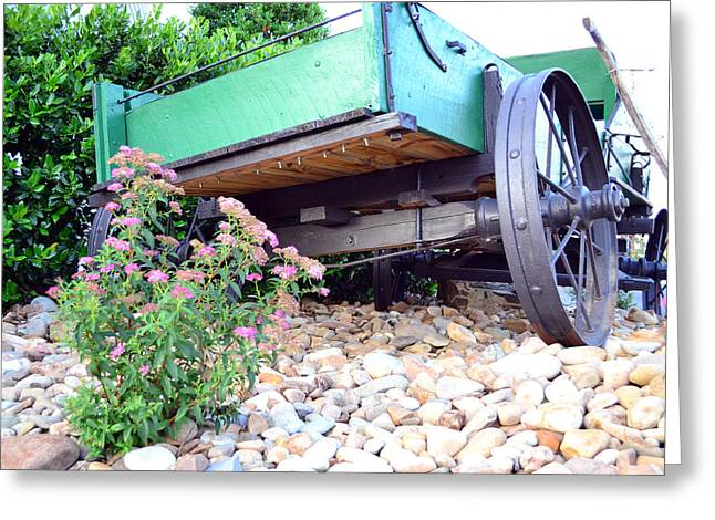 Wagon And Blooms Greeting Card by Larry Bishop