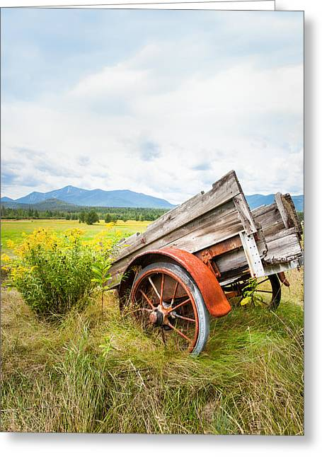 Greeting Card featuring the photograph Wagon And Wildflowers - Vertical Composition by Gary Heller