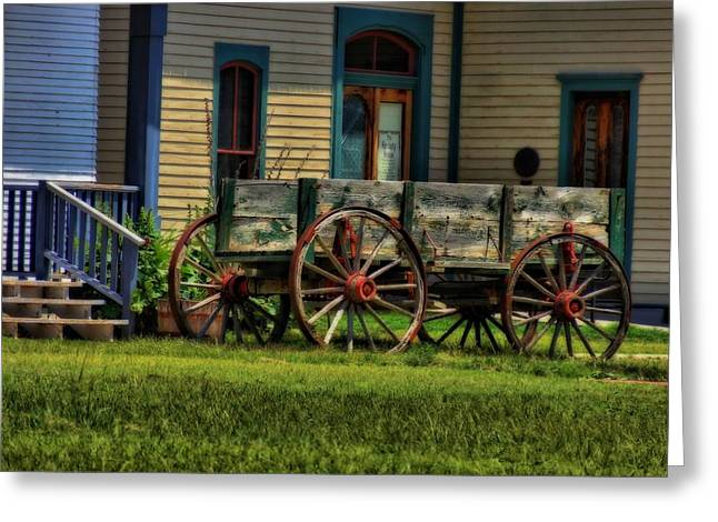 Wagon In The Old West Greeting Card by Dan Sproul