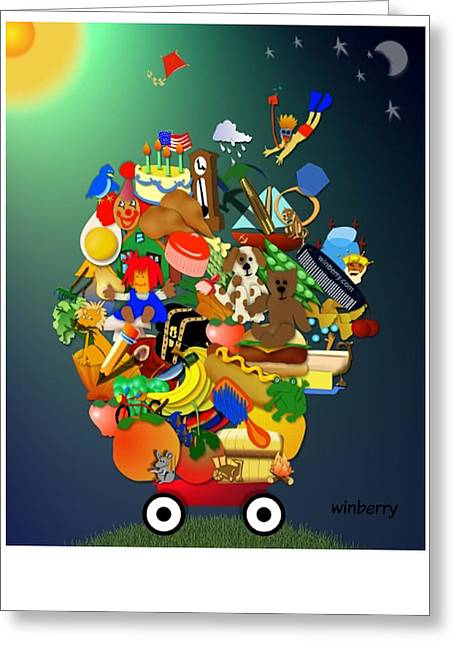 Wagon Of Toys Greeting Card by Bob Winberry