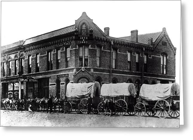 Wagon Train In Downtown Spokane - 1880 Greeting Card