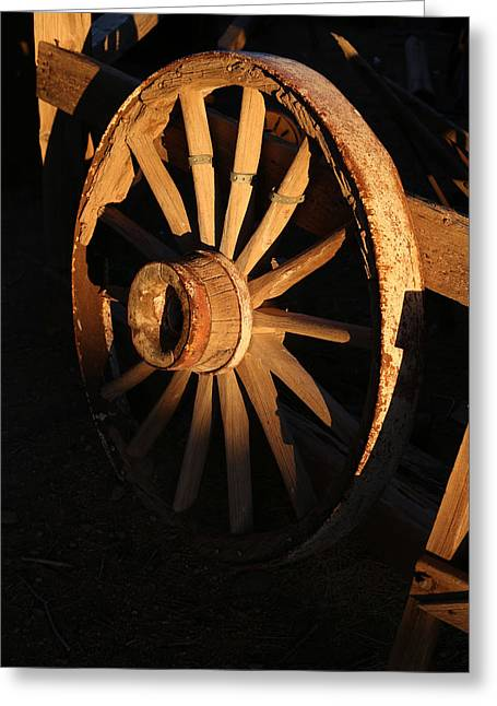 Wagon Wheel At Sundown Greeting Card