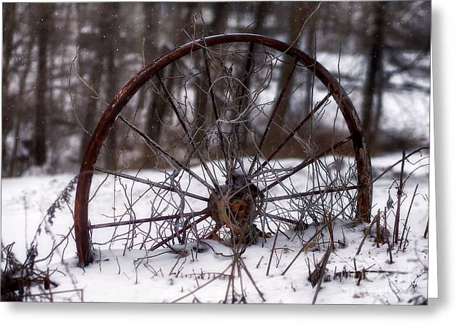 Wagon Wheel In Winter Greeting Card by Mark Miller