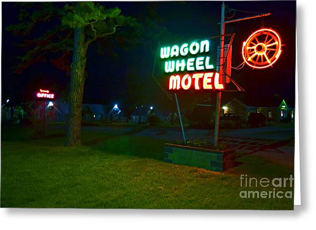Greeting Card featuring the photograph Wagon Wheel Motel by Utopia Concepts