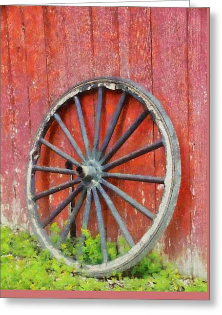 Wagon Wheel On Red Barn Greeting Card by Dan Sproul