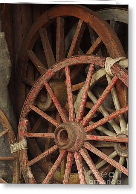 Wagon Wheels Greeting Card by Carlos Caetano