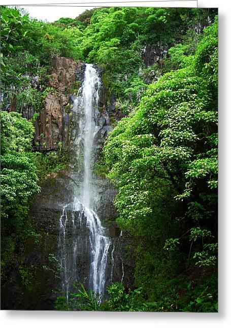 Greeting Card featuring the photograph Waikani Falls At Wailua Maui Hawaii by Connie Fox