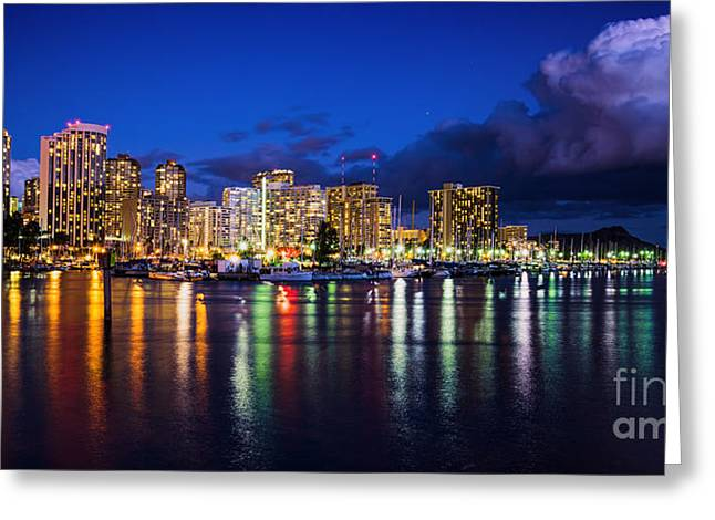 Waikiki And Diamond Head At Dusk 2 To 1 Aspect Ratio Greeting Card
